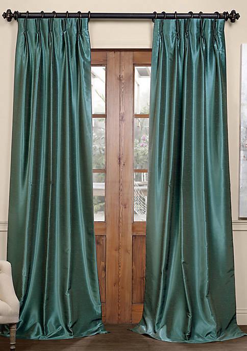 Blackout Vintage Textured Faux Dupioni Silk Pleated Curtain