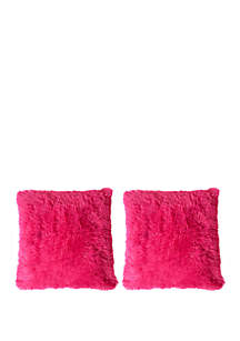 Sweet Home Collection 2 Pack Plush Soft and Comfy Faux Fur Throw Pillow