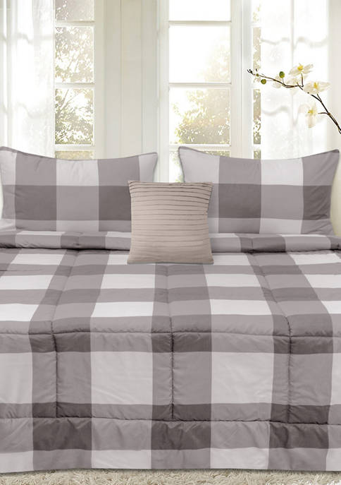 Sweet Home Collection Buffalo Plaid Reversible Down Alternative