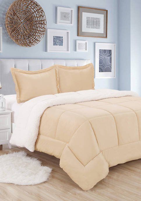 Sweet Home Collection Sherpa Reversible Comforter and Sham