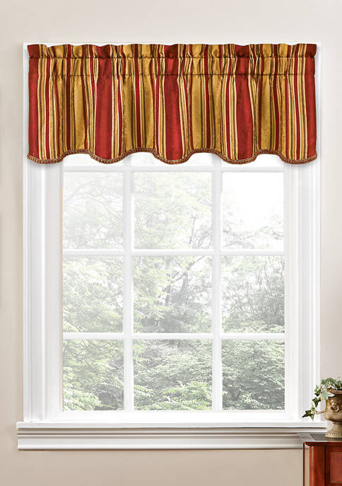Traditions by Waverly® Stripe Ensemble Scalloped Window Valance