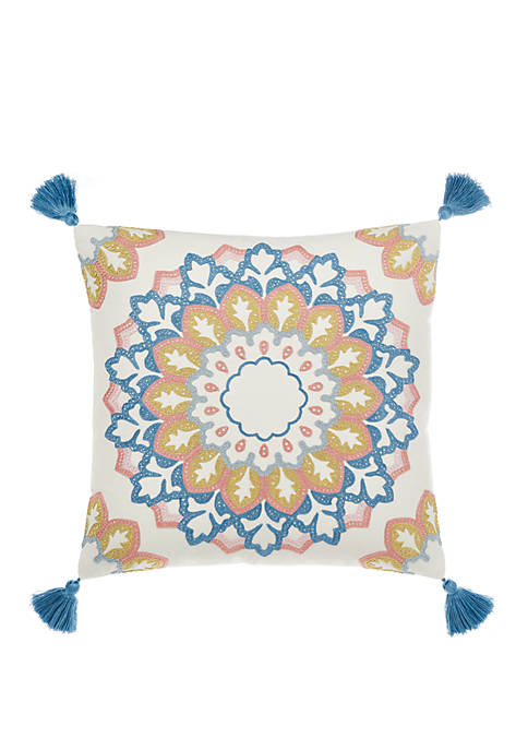 Clifton Hall 16 Inch x 16 Inch Denim Embroidered Decorative Pillow