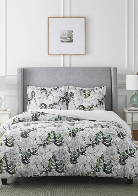 Monstera Combed Cotton Printed Duvet Set