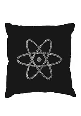 Word Art Throw Pillow Cover- Atom