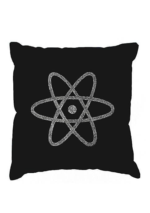 Word Art Throw Pillow Cover- Atom