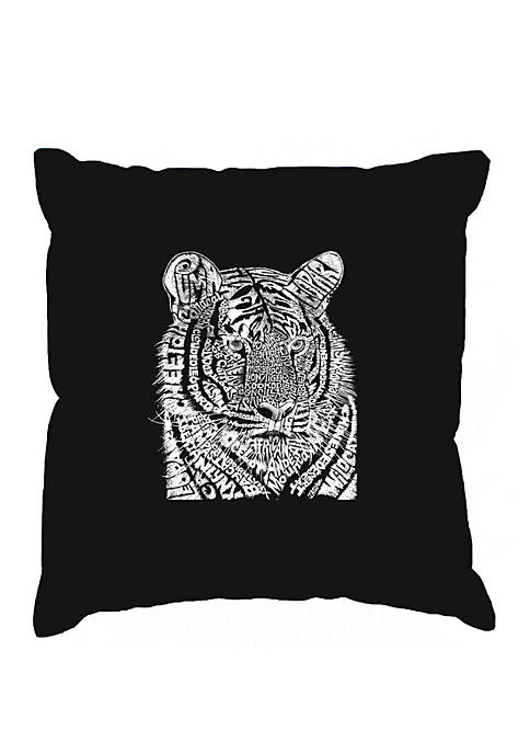 Word Art Throw Pillow Cover- Big Cats