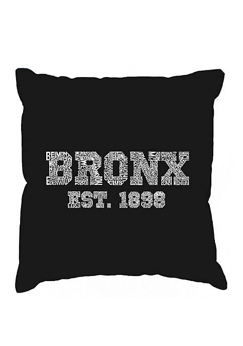 Word Art Throw Pillow Cover- Popular Bronx NY Neighborhoods