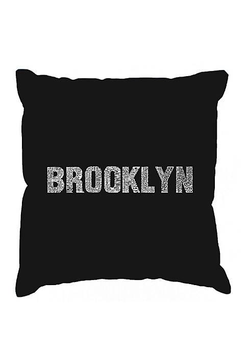 Word Art Throw Pillow Cover  - Brooklyn Neighborhoods