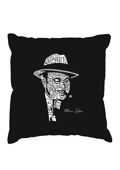 Word Art Throw Pillow Cover - Al Capone -Original Gangster