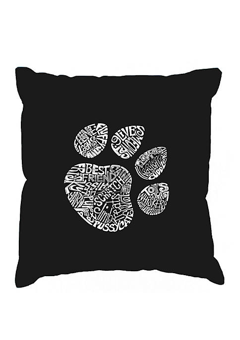 Word Art Throw Pillow Cover -Cat Paw