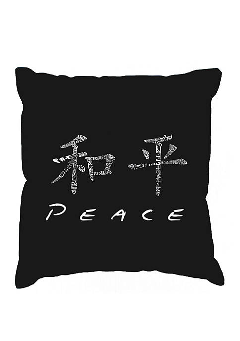 Word Art Throw Pillow Cover- Chinese Peace Symbol