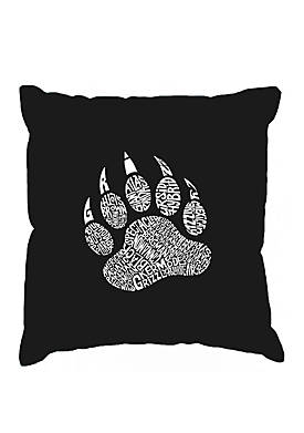 Word Art Throw Pillow Cover - Types of Bears