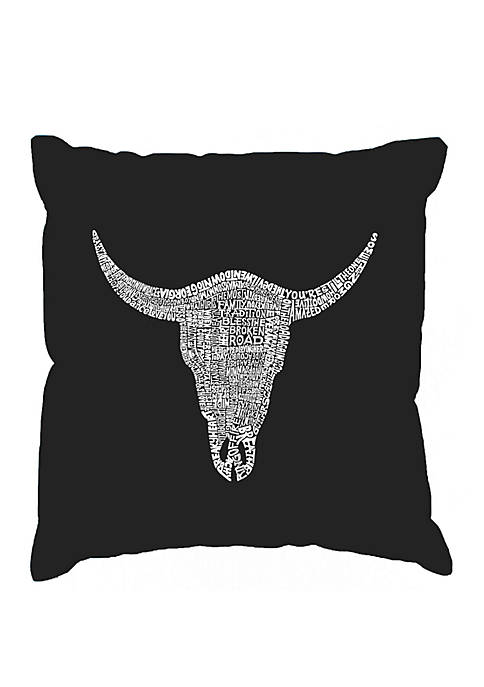 Word Art Throw Pillow Cover -  Country Music All Time Hits