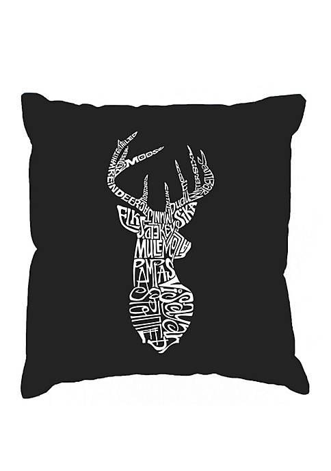 Throw Pillow Cover - Word Art - Types of Deer