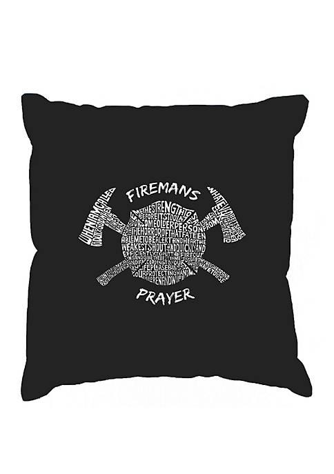 Word Art Throw Pillow Cover - Firemans Prayer