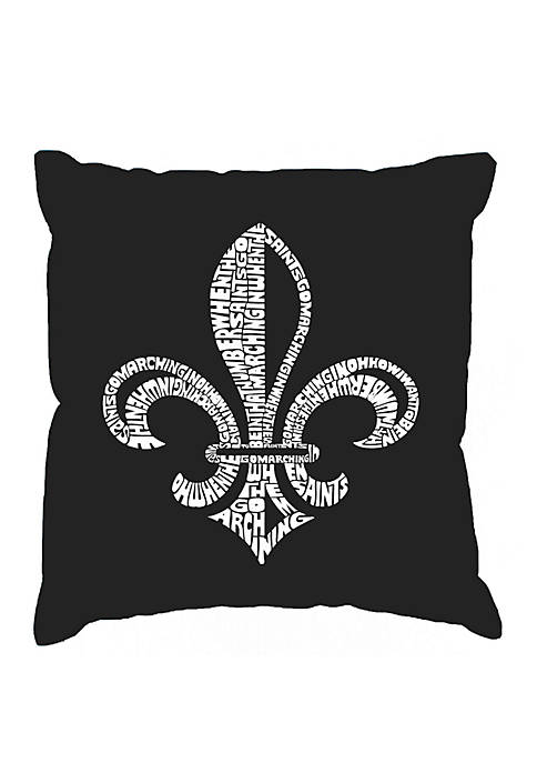 Word Art Throw Pillow Cover - Lyrics To When The Saints Go Marching In