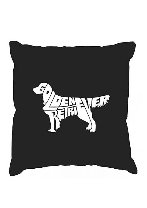 Word Art Throw Pillow Cover - Golden Retreiver
