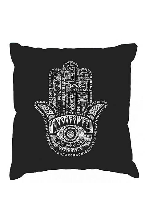 Throw Pillow Cover - Word Art - Hamsa