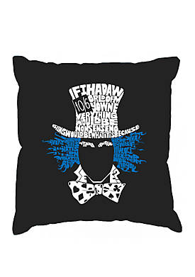 Word Art Throw Pillow Cover - The Mad Hatter