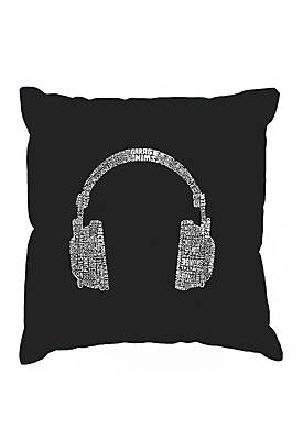 Word Art Throw Pillow Cover - 63 Different Genres Of Music