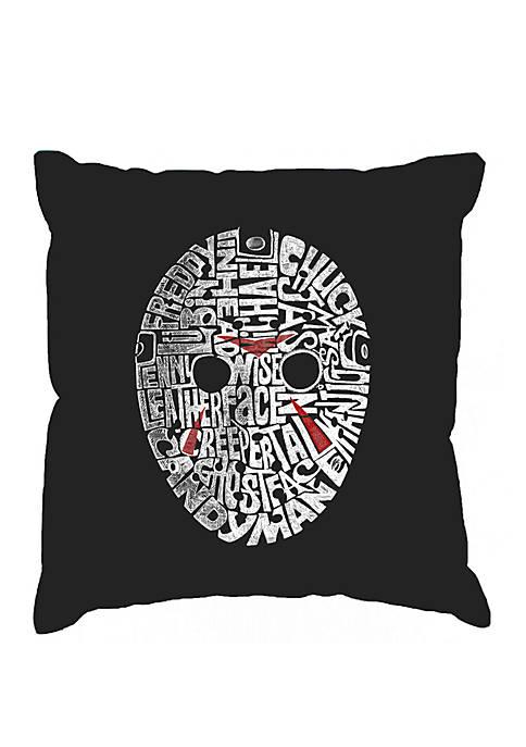 Throw Pillow Cover - Word Art - Slasher Movie Villians