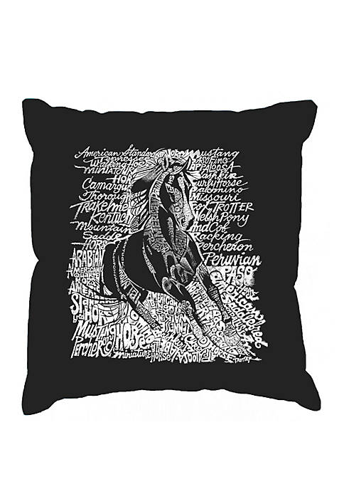 Word Art Throw Pillow Cover - Popular Horse Breeds