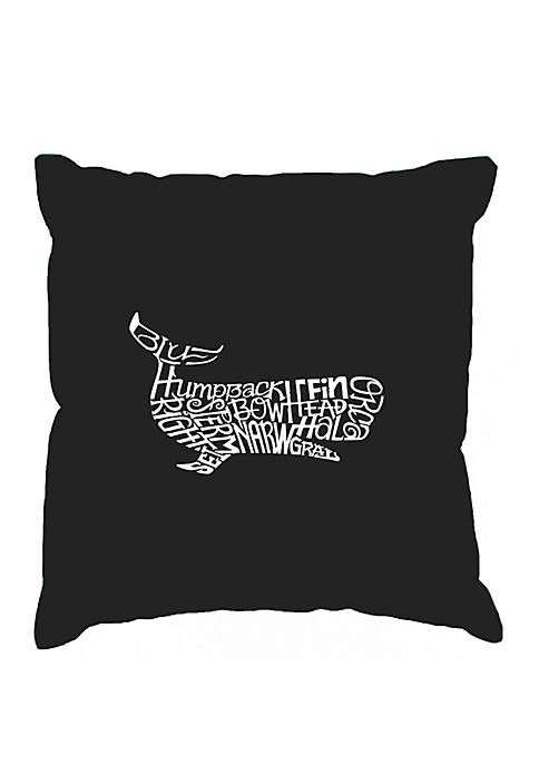 Word Art Throw Pillow Cover - Humpback Whale