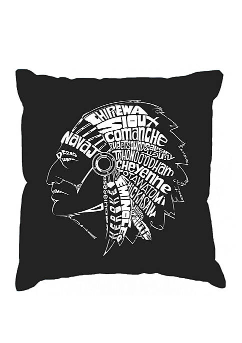 Word Art Throw Pillow Cover - Popular Native American Indian Tribes