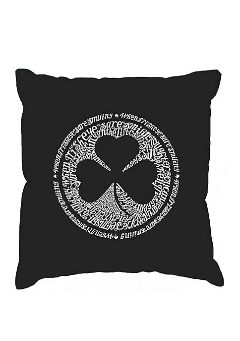 Word Art Throw Pillow Cover - Lyrics To When Irish Eyes Are Smiling