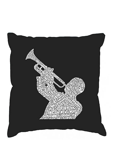 Word Art Throw Pillow Cover - All Time Jazz Songs
