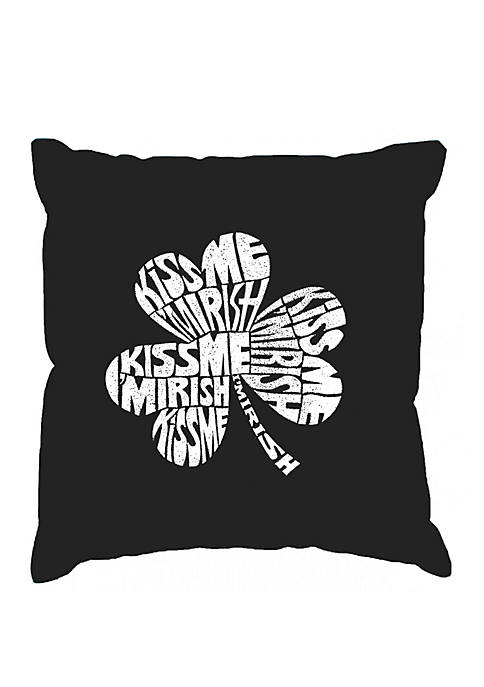 Word Art Throw Pillow Cover - Kiss Me Im Irish