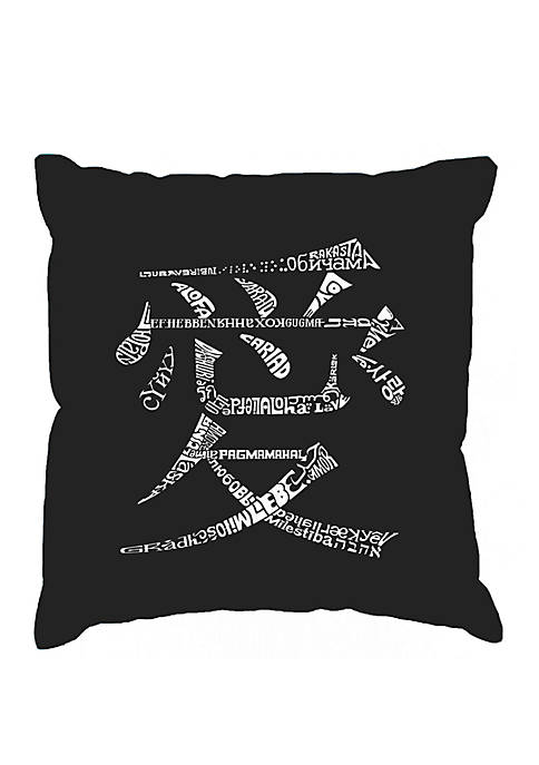 Word Art Throw Pillow Cover - The Word Love in 44 Languages