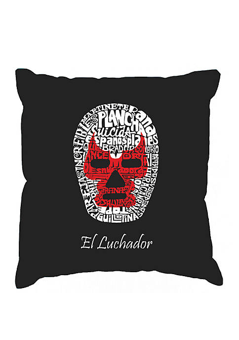 Word Art Throw Pillow Cover - Mexican Wrestling Mask