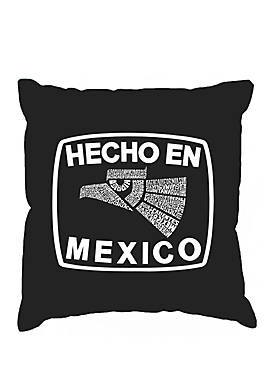 Word Art Throw Pillow Cover - Hecho En Mexico
