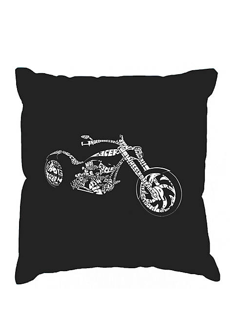Word Art Throw Pillow Cover - Motorcycle