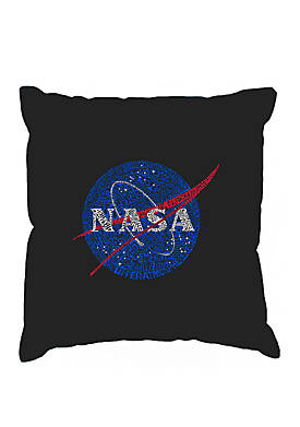 Throw Pillow Cover - Word Art - NASAs Most Notable Missions