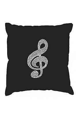 Throw Pillow Cover - Word Art - Music Note