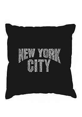 Word Art Throw Pillow Cover - NYC Neighborhoods