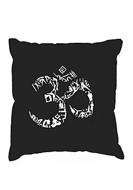 Word Art Throw Pillow Cover - The Om Symbol Out Of Yoga Poses