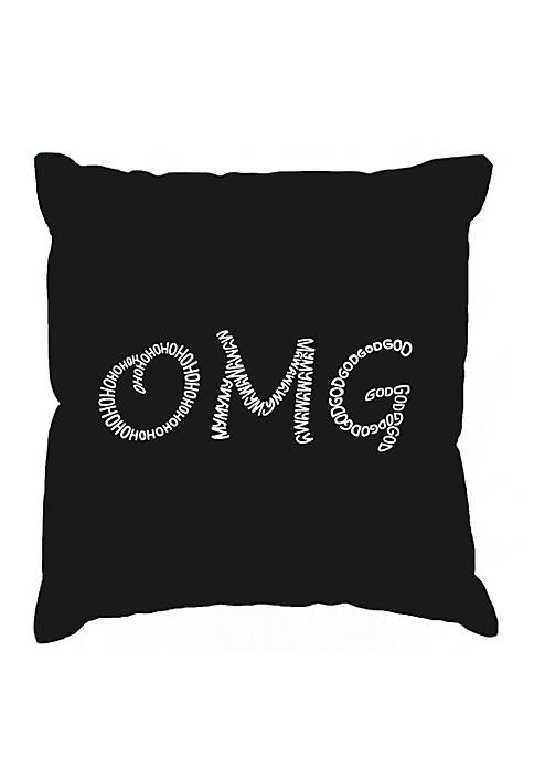 Word Art Throw Pillow Cover - OMG