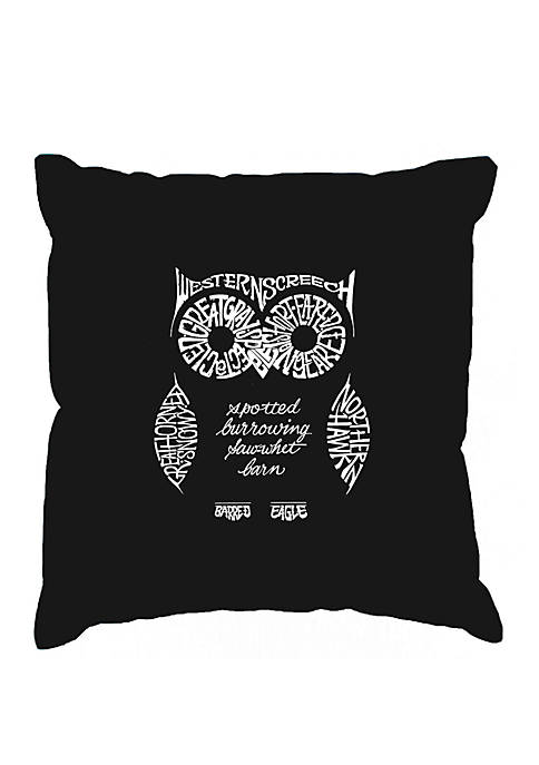 Word Art Throw Pillow Cover - Owl
