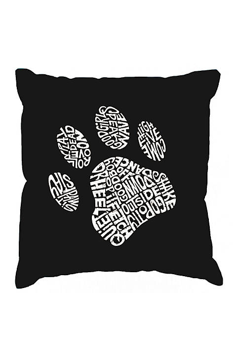 Throw Pillow Cover - Word Art - Dog Paw