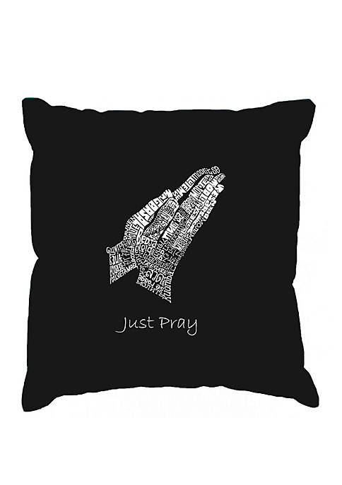 Word Art Throw Pillow Cover - Prayer Hands