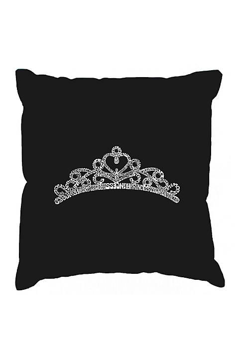 Word Art Throw Pillow Cover - Princess Tiara