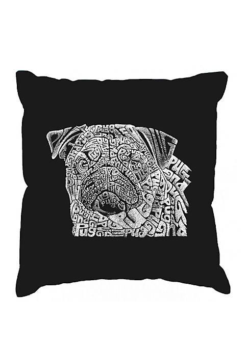 Throw Pillow Cover - Word Art - Pug Face