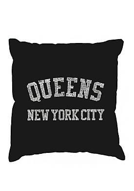 Throw Pillow Cover - Word Art - Popular Neighborhoods In Queens, NY