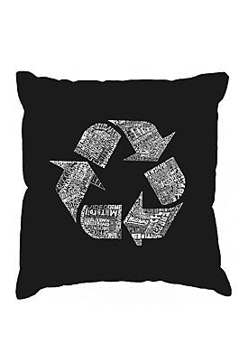 Throw Pillow Cover - Word Art - 86 Recyclable Products