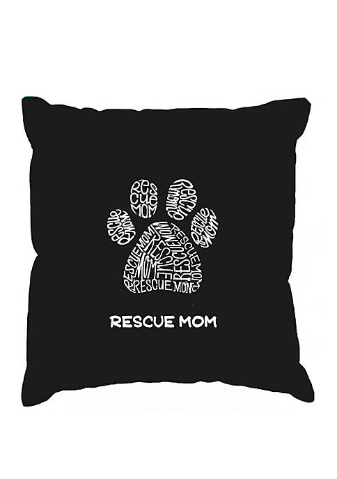 Rescue Mom Word Art Throw Pillow Cover