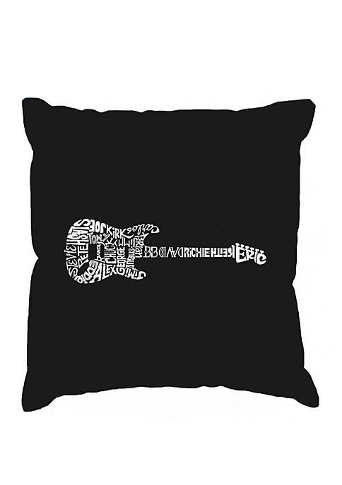 Word Art Throw Pillow Cover - Rock Guitar