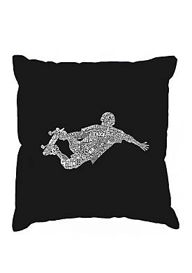 Throw Pillow Cover - Word Art - Popular Skating Moves & Tricks